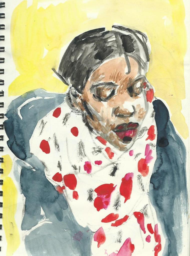 Du carnet nov.2011,repris en sept.2012.Croquis du train aquarelle.